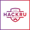 Hackru logo square gradient whitebg bordered