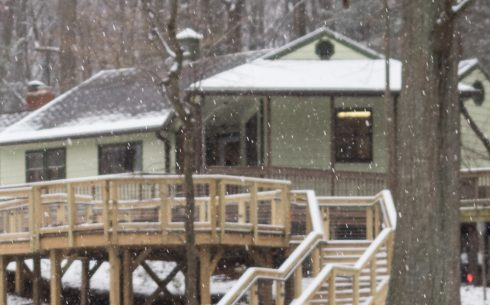 Front view of the Brookside Nature Center in winter