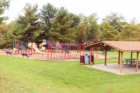 A picnic shelter and playground