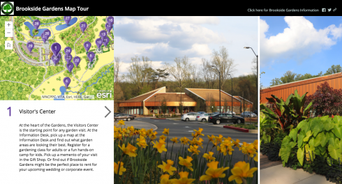 Screen image of the website page for Brookside Gardens Virtual Tour