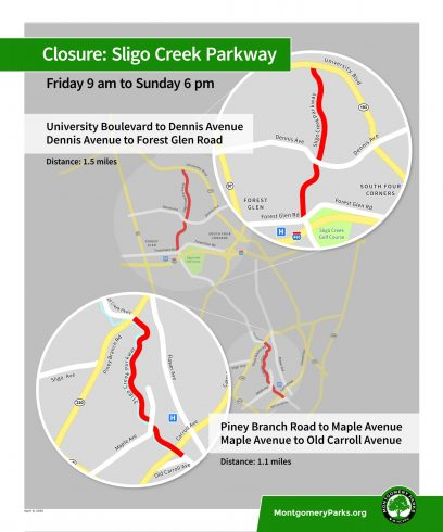 aerial image identifying the Fri-Sun scheduled parkway closures. Closure: Sligo Creek Parkway. Friday 9AM to Sunday 6 PM. University Boulevard to Dennis Avenue. Dennis Avenue to Forest Glen Road. Distance: 1.5 Miles. Piney Branch Road to Maple Avenue. Maple Avenue to Old Carroll Avenue. Distance: 1.1 miles. Montgomeryparks.org. M-NCPPC logo