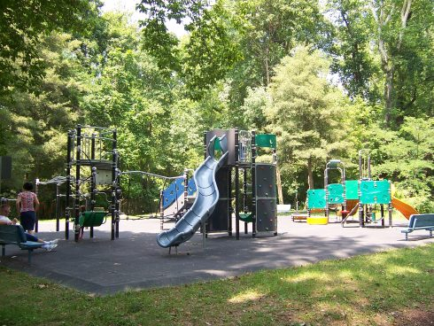 Playground, Public space, Human settlement, Outdoor play equipment, City, Recreation, Park, Tree, Playground slide, Botany