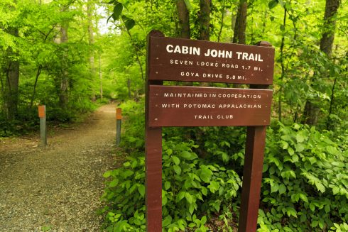 Close up photo of Cabin John Trail sign