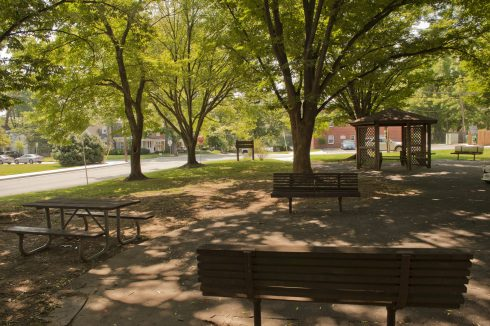 Wide View of Park Benches at Chase Avenue Urban Park