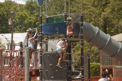 Children playing on Playground set at Ellsworth Urban Park