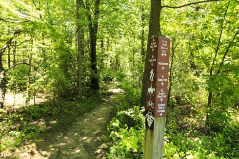 Sign post located at the intersection of Crow's Foot Trail and Little Paint Branch Trail.