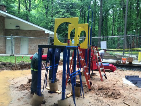 playground installation at north chevy chase local park