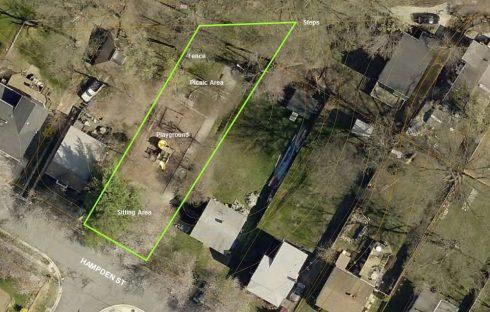 aerial photography, Edith Throckmorton Neighborhood Park on Hampden Street in Kensington, MD