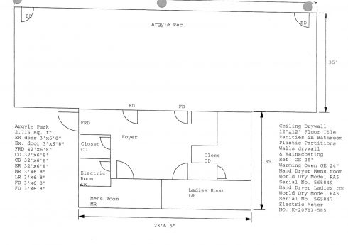 The floor plan of the Argyle Park Activity Building
