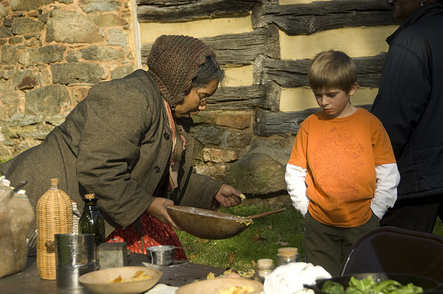 Historic foodways demonstration at Oakley Cabin African American Museum and Park