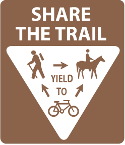 Brown and white sign showing the required yielding for trail users: Bikers should yield to hikers and horses. Bikers and Hikers should yield to horses at all times.