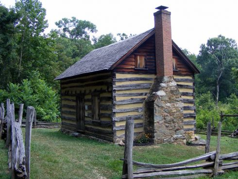 The historic Oakley Cabin as seen from Brookeville Road