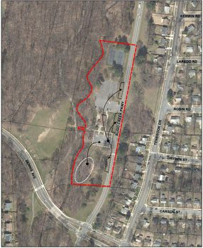 Aerial photograph of Sligo-Dennis Avenue Local Park, highlighting the project area. The existing and proposed playground locations are outlined with an arrow indicating moving the existing playground to the proposed location (currently the parking lot south of the Park Activity Building). Outlines of three bays of parking are shown along Sligo Creek Parkway, accommodating the parking spaces lost by the playground relocation.