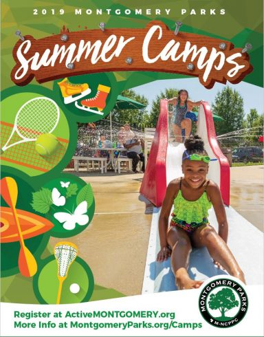 2019 Montgomery Parks Summer Camps, icons of summer camp activities and a photo of a girl coming down a water slide
