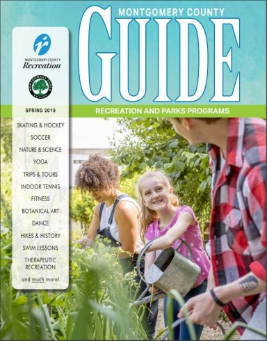 Children working in a garden - Spring Guide Cover image - Montgomery Country Recreation and Montgomery Parks