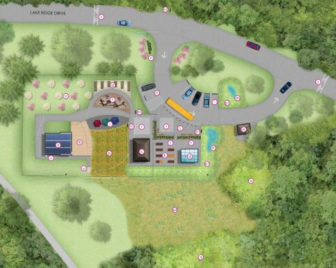 Aerial illustration of Black Hill SEED Classroom Facility Plan with realignment of Lake Ridge Drive in Black HIll Regional Park
