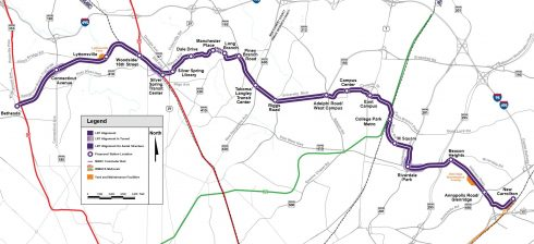map of purple line prpject outlining stations from Greenbelt, to bethesda.