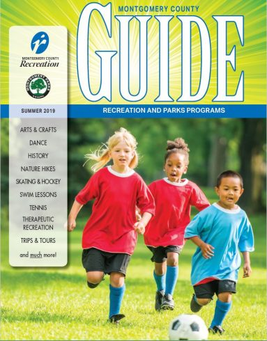 Three small children playing soccer. Montgomery County Program Guide - Summer 2019