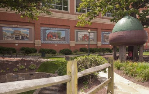 Acorn Urban Park in Silver Spring features a gazebo with an acorn shaped dome.