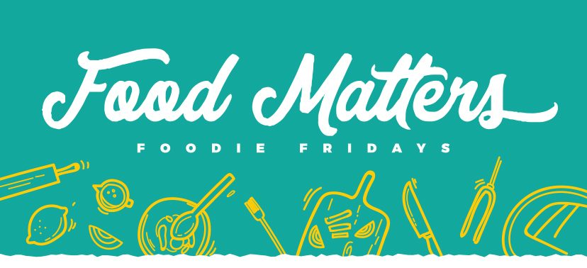 Montgomery Parks' Food Matters Graphic with line art of food items on teal background