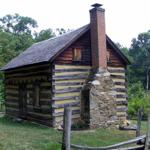 The side view of an old building (Oakley Cabin)