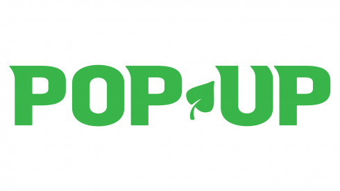 Pop up logo with green leaf
