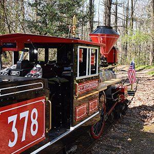 A miniature train engine
