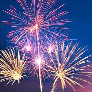 Fireworks explode against a sky