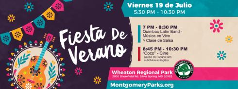 Fiesta de Verano | July 19 | Wheaton Regional Park | 5:30 pm