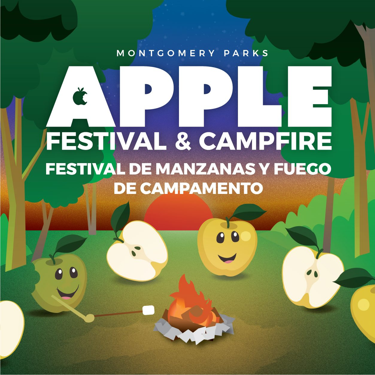 Cartoon of Apples sitting around a campfire in the woods