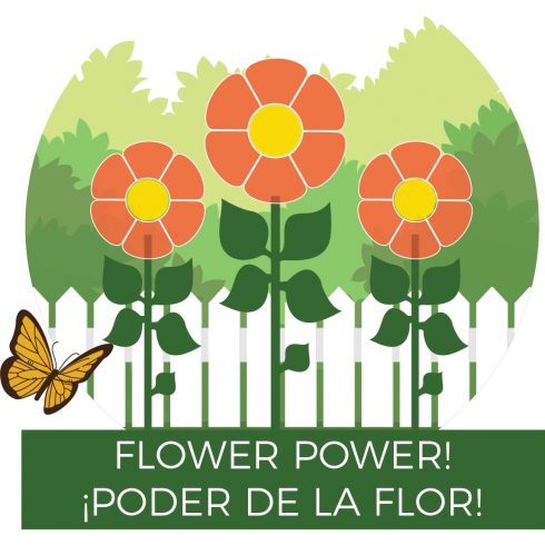 Graphic art of three flowers, fence, trees and a butterfly for Children's Day - Flower Power