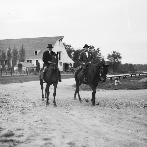 Meadowbrook - Archival Photo with riders and barn