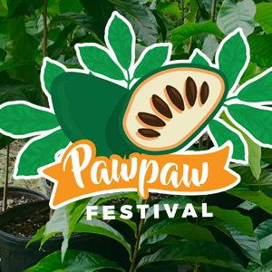 Pawpaw Festival logo on background of pawpaw plants
