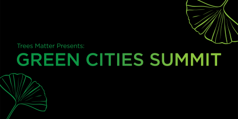 Green Cities Summit banner image - black background with green lettering and leaves