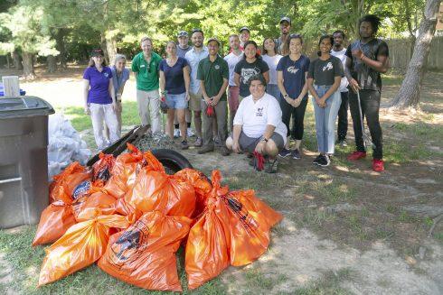 Volunteers Clean Up Trash at Broadacres Local Park