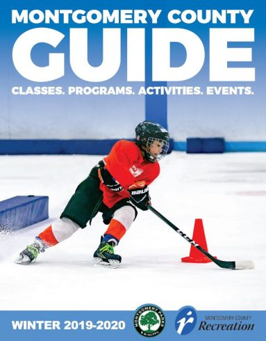 Montgomery County Winter Guide Cover Image - Hockey Skater