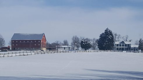 Snow, Winter, Sky, Freezing, Farm, Barn, Farmhouse, Fence Tree, Cloud