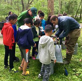 Student learn about water quality at Maydale Nature Classroom field trip