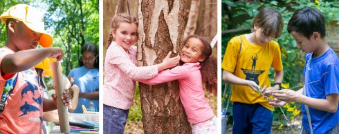 Three photos of children involved in activities at Maydale Summer Camps