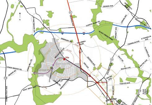 vicinity map showing Talbot Bridge Neighborhood Park in Lyttonsville