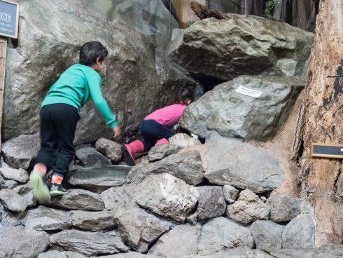 Children climbing into cave