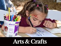 photo of a young girl doing a craft with a black bar at the bottom that has white letters that says Arts and Crafts