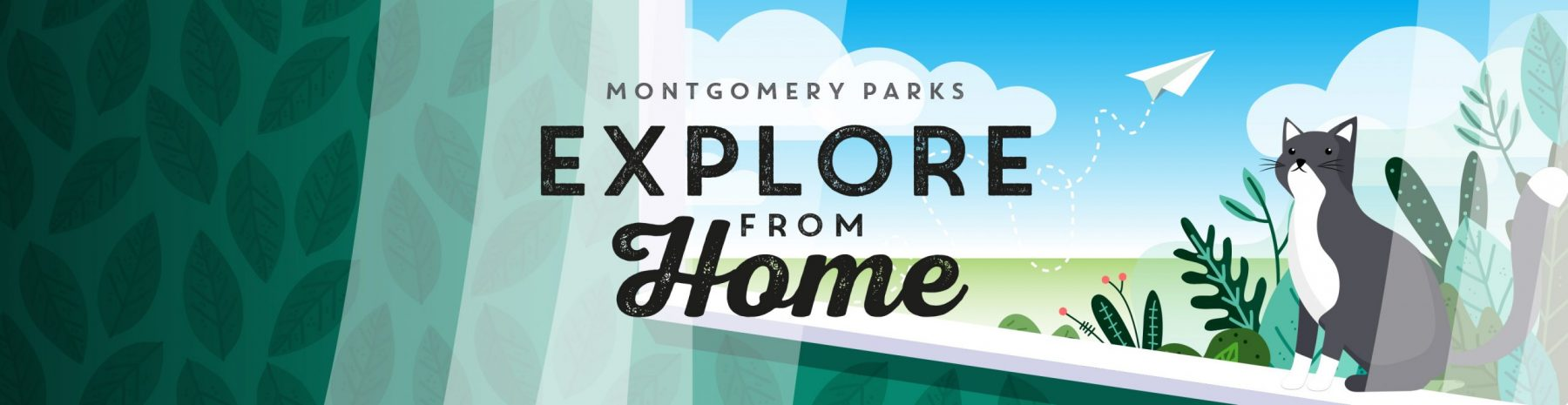 Montgomery Parks Explore from Home - cat graphic in window ledge