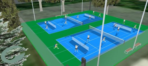 Rendering to illustrate Pickleball players using a shared use Pickleball facility. The rendering shows four Pickleball Courts shared with Tennis, with 4 Pickleball players playing doubles game on each Pickleball courts.