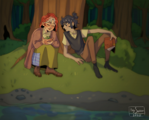 Digital illustration of two people enjoying nature, sitting in a forest at ease looking at frogs and reading books.