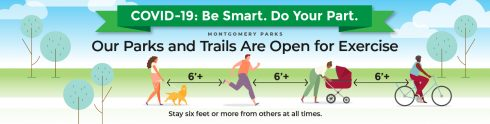 COVID-19: Be Smart. Do Your Part. Montgomery Parks Graphic. Parks and Trails are open for exercise. Trees. People walking, running, biking. Stay Six feet or more from others at all times.