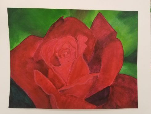 Image of a red rose, original artwork by D. Ponce