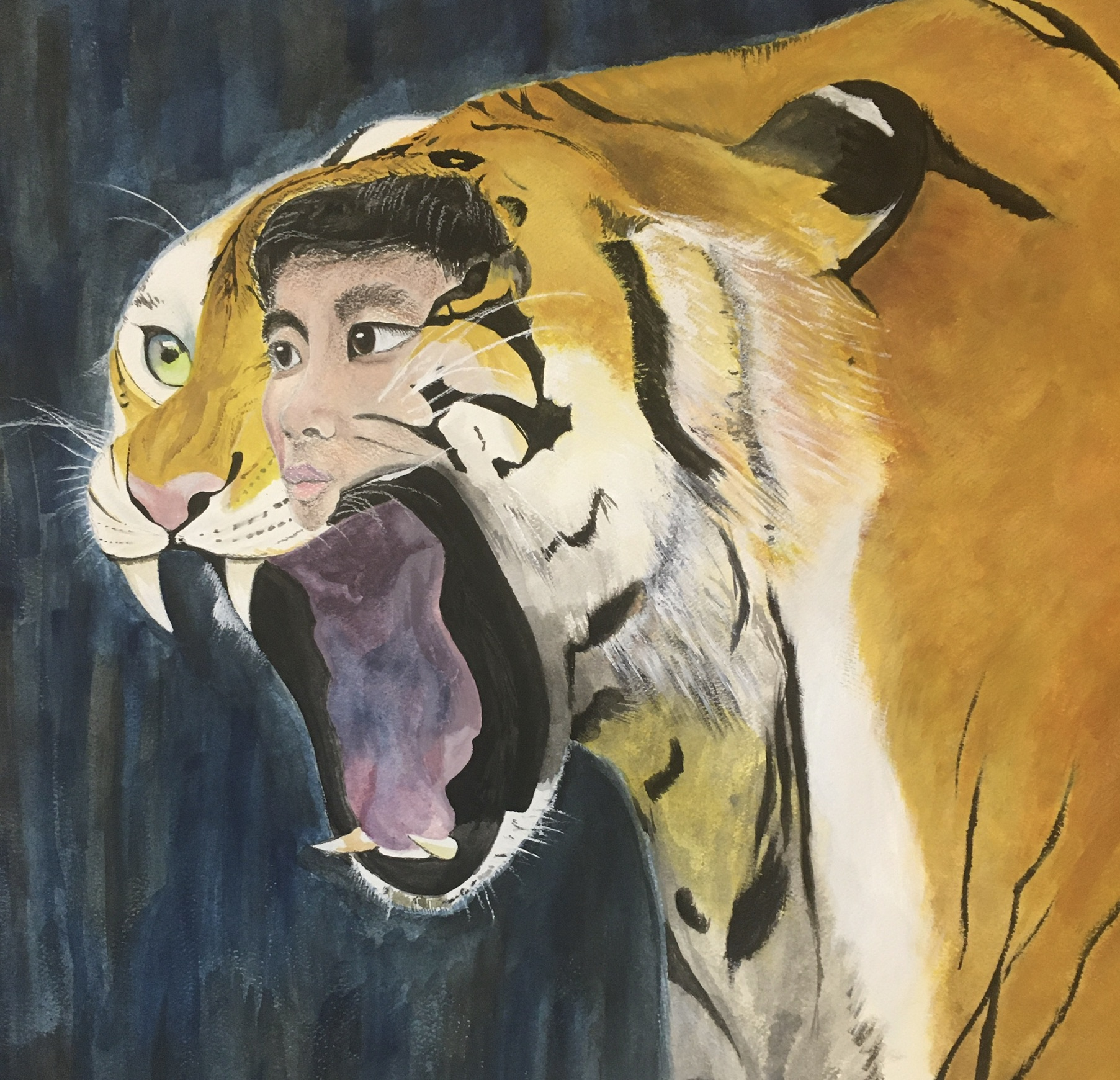 Painting of a Bengal Tiger with a man's face superimposed on it, painted by by G. Chen