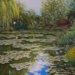 Monet's Garden #2, Oil, by Simin Parvaz $1800, Painting, Natural landscape, Brookside Gardensy of water, Bank, Pond, Wetland, Bayou, Reflection, Natural environment