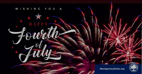Text says Wishing You a Happy Fourth of July with image of fireworks